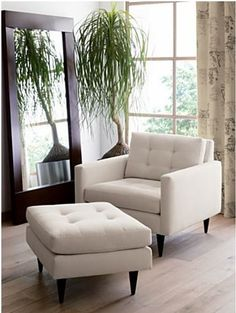 Repurpose Ikea Karlstad chairs to look like this (back cushion and legs)