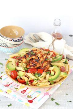 Bacon & Avocado Pasta Salad with Honey Mustard Chicken