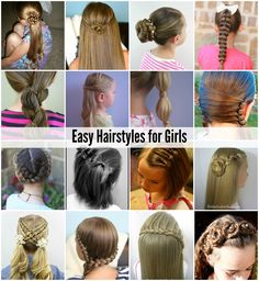 Easy Hairstyles for Girls - Hair, Hair Styles, Hair Color - Cute Girls Hairstyles, Different Hairstyles, Hairstyles For School, Diy Hairstyles, Simple Hairstyles, Simple Hairdos, Girls Hairdos, Pompadour, Medium Hair Styles