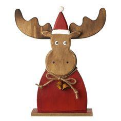 Wooden Reindeer W/Hat