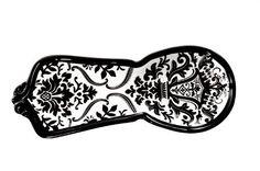 Drake Design Ceramic Spoon Rest, Black and White Damask Design