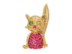 Ruby, Emerald and 18K Gold Cat Brooch, circa 1960 « Dupuis Fine Jewellery Auctioneers