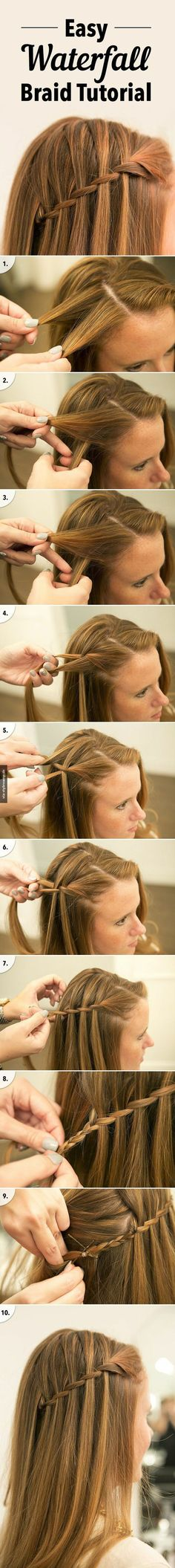 Easy Waterfall Braid Tutorial ♥