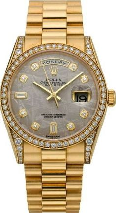 ♛ Rolex Diamond Gold President with Meteorite Dial ♛ This is going to be my final destination when it comes to watches. Mens Diamond Jewelry, Diamond Watches For Men, Luxury Watches For Men, Cartier, Cool Watches, Rolex Watches, Marken Outlet, Outlet Michael Kors, Hand Watch