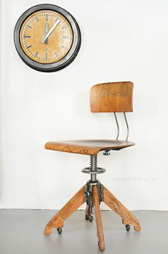 Rare ROWAC architect's chair on casters