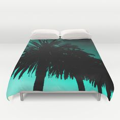 Palm Trees Silhouette - Teal Sunset Duvet Cover