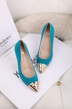 Christian Louboutin Parkle Blue Golden Suede Shoes