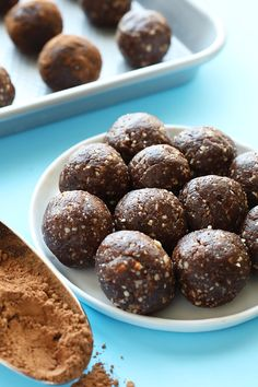 These healthy peanut butter brownie balls are the energy ball of all energy balls. They're packed with protein and fiber and pretty much taste like dessert!