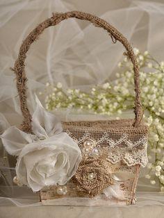 Flower Girl  Natural Birch Bark Basket, Burlap  Rustic Basket , Lace , Birch Bark basket