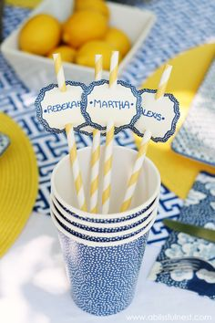 straws with name tags from Martha Stewart