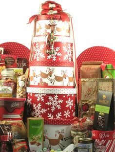 large holiday gift tower for someone special or a whole family christmas