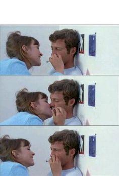 Anna Karina and Jean-Paul Belmondo in Jean Luc Godard's 'Pierrot le fou' (1968).