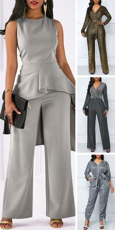 Neck Asymmetric Hem Top and Grey Pants Cute Business Casual, Business Attire, Plus Size Wedding Outfits, Plus Size Outfits, Corporate Wear, Latest Fashion For Women, Womens Fashion, Types Of Fashion Styles, Ideias Fashion