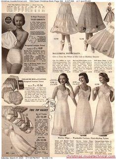 1954 Sears Christmas Book, Page 168 - Christmas Catalogs & Holiday Wishbooks Christmas Catalogs, Christmas Books, Vintage Advertisements, Vintage Ads, Vintage Underwear, Women's Underwear, 1950s Women, Retro Lingerie