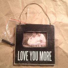 "Primitives By Kathy Wood Box Frame Holds 2""x3"" Photo Black ""Love You More"" #PrimitivesByKathy #RusticPrimitive"