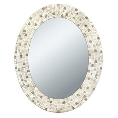 Head West Travertine Mosaic Oval Mirror, 24 by Add a focal point to any bath room with the Travertine Mosaic Oval Mirror. This mirror is handcrafted out of authentic travertine stone. Coastal Mirrors, Unique Mirrors, Shell Mirrors, Mirror Mosaic, Mosaic Wall, Mosaic Tiles, Beach Mirror, Spiegel Design, Unique Ceiling Fans