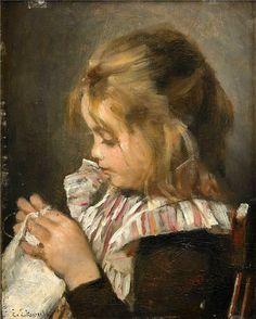 Girl With Needle Work