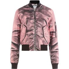 Moschino Printed Bomber Jacket (12,765 MXN) ❤ liked on Polyvore featuring outerwear, jackets, tops, coats, pink, moschino jacket, slim jacket, flight jacket, slim fit bomber jacket and zip front bomber jacket