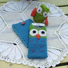 Étuis portable et chouette avec le coton natura de dmc stages de crochet et ventes rue de la manutention à palais belle ile by colette.poupoune