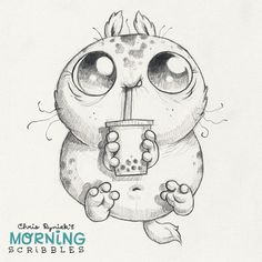 Cute monster artist Chris Ryniak Bubble tea! #⚫️⚫️⚫️#morningscribbles