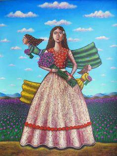 """German Rubio - El sueño de flora, acrylic on canvas 49"""" x 38"""""""