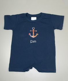 Look at this #zulilyfind! Navy Plaid Anchor Personalized Romper - Infant by Princess Linens Layette #zulilyfinds