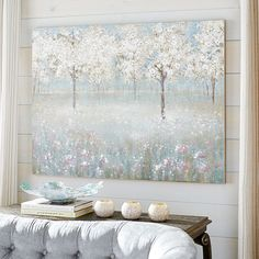 Inspired by Washington's cherry blossoms, our hand-painted pink and white trees herald spring's arrival. Plant them in your living room or study, where they can forever flourish. Cherry Blossom Painting, Acrylic Painting Flowers, Cherry Blossom Tree, Blossom Trees, Unique Wall Art, Diy Wall Art, Sitting Room Decor, Dining Room Blue, Tree Art
