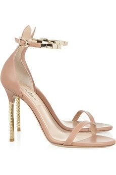 Valentino nude leather and gold tone ankle strap heels