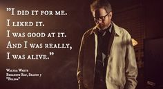 I did it for me. I liked it. I was good at it. And I was really, I was alive! - Walter  White-