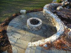 natural bluestone patio and natural stone gas fire pit Bluestone Patio, Metal Fire Pit, Fire Pit Designs, Outdoor Fire, Outdoor Decor, Home Projects, Natural Stones, Pond, Backyard