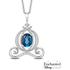 Enchanted Disney Cinderella Oval London Blue Topaz and 1/10 CT. T.W. (1.175 RON) ❤ liked on Polyvore featuring jewelry, pendants, sterling silver diamond pendant, disney jewelry, sterling silver charms pendants, sterling silver jewelry and pendant jewelry