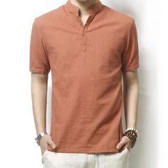 Summer Male Solid Loose Linen Shirt Mens shirt Plus Size Short Sleeve shirt Pullover Broadcloth Brand Clothing Casual Shirts Mens Linen Shorts, Linen Shirts, Cotton Shirts, Casual Shirts For Men, Men Casual, Casual Wear, Banded Collar Shirts, Camisa Polo, Short Shirts