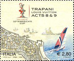 """2005 - Pre-regata dell'America's Cup 2007 """"TRAPANI – Luois Vuitton Act 8-9"""" - Mappa di Trapani e imbarcazioni"""