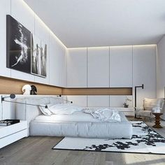 6 Simple and Modern Tricks Can Change Your Life: Minimalist Bedroom Small Chairs minimalist interior scandinavian couch.Minimalist Home Interior Simple minimalist bedroom girl rugs. White Bedroom Decor, Home Decor Bedroom, Modern Bedroom, White Bedrooms, Bedroom Bed, Bed Room, Girls Bedroom, Bedroom Small, Small Rooms