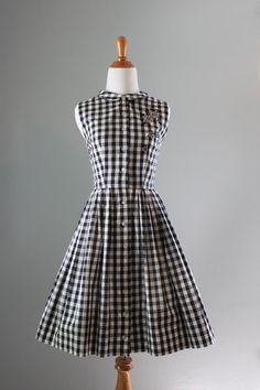 50s Dress / 50s 60s Black And White Dress / 50s Day by HolliePoint, $62.00