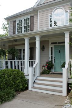 Behr Deckover Update-How Our Porch Looks One Year Later house-shot-front-stairs Exterior Paint Colors For House, Paint Colors For Home, Exterior Colors, Beige House Exterior, House Shutter Colors, Outdoor House Colors, Outside House Paint Colors, Outside House Decor, Deck Colors