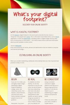 What's your digital footprint? Infographic (created by Lisa Nielson using Smore flyers) on the importance linked to one's digital footprint. Links and videos included. There are and lesson plan ideas at the bottom. Teaching Technology, Digital Technology, Educational Technology, Technology Lessons, Elementary Counseling, Career Counseling, Elementary Schools, Digital Citizenship Lessons, Computer Lessons
