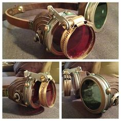 After a bit more detail work, here are my final goggles! I installed a addition lens to one side, painted oxidizing metal details around the rivets, and added some strictly decorative accents.