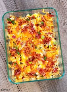 Jalapeno Popper Chicken Casserole 2 heaping cups of chicken, cooked and cut into bite-size pieces 8 oz. cream cheese, softened 6 slices of bacon, cooked and crumbled 1 cup of cheddar, shredded 4-5 green onions, sliced 1-2 diced, fresh jalapenos or 1/3 cup chopped, pickled jalapenos