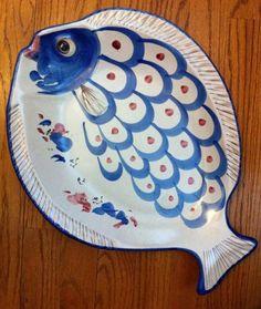 "Italy Vietri Solimene Large Blue Fish Pesce PLATTER WALL PLAQUE PLATE 16X12X2"""
