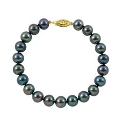 "7-7.5mm 8"" Black Freshwater Pearl Bracelet ""AA"" with 14K Yellow Gold in Gift Box Joy De Mer. $62.00. 100% Silk Thread. ""AA"" Quality Pearls. 14K Gold Clasp. 8"" Black Freshwater Pearl Bracelet. Gift Box and Free Shipping"