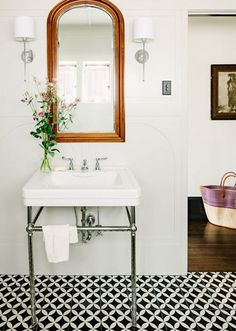 cement tiles, black and white, washstand sink, sconces