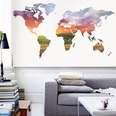 Adesivo parede, mapa mundi