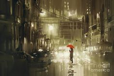 size: Art Print: Woman with Red Umbrella Crossing the Street,Rainy Night,Illustration by Tithi Luadthong : Night Illustration, Graphic Prints, Art Prints, Rainy Night, Rainy Days, Red Umbrella, Clipart, Find Art, Framed Artwork