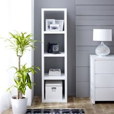 White High Gloss 4 Square Tall Narrow Bookcase