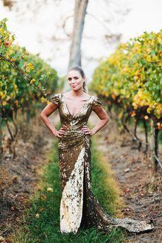 Sequin gold wedding dress.   Photo by LoveKatieAndSarah.com