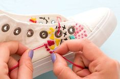 Forget the Hoop! Embroider White Canvas Sneakers for Spring via Brit   Co