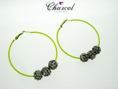 Neon Yellow Hoop Earrings with Hermatite Black by charcollondon, £6.00