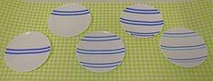 スリット大鉢の取り皿用のお皿(オーダー分)です。直径約14.5cm 深さ約1cm 白のガラスにブルーの細いガラス棒を焼き付けました。5枚組です。 ハンドメイド、手作り、手仕事品の通販・販売・購入ならCreema。