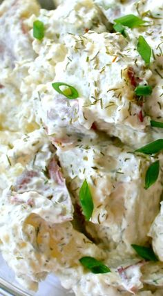 Dill Potato Salad. Ingredients 1½ lbs. red potatoes½ cup mayo⅓ cup sour cream1 Tbl. dried dill weed2-3 large green onions, snipped¼ tsp. kosher salt⅛ tsp. course ground black pepper